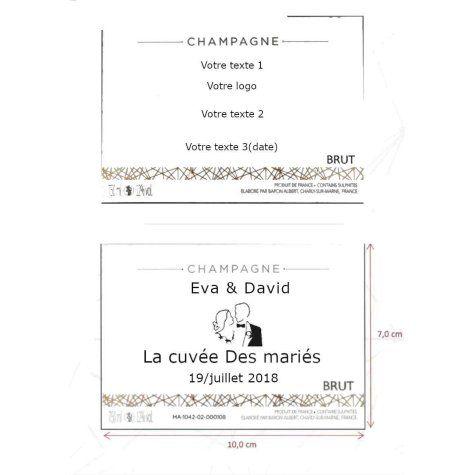 mode emploie étiquette personnalisé L'UNIVERSELLE  BRUT CHAMPAGNE BARON ALBERT